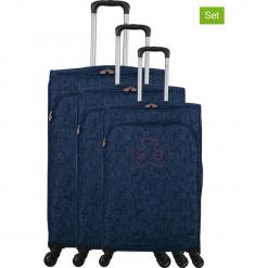 """Walizki (3 szt.) """"Lulu Cactus"""" w kolorze granatowym. Czarne walizki marki Jack Wolfskin, w paski, z materiału, małe. W wyprzedaży za 673,95 zł."""