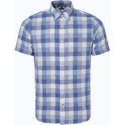 Tommy Hilfiger - Męska koszula z dodatkiem lnu, niebieski. Niebieskie koszule męskie na spinki marki TOMMY HILFIGER, l, w kratkę, z bawełny. Za 249,95 zł.