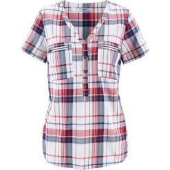 Bluzki damskie: Bluzka z wiskozy, krótki rękaw bonprix biało-indygo w kratę