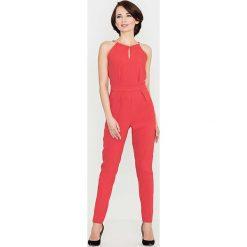 Kombinezony damskie: Czerwony Elegancki Kombinezon z Biżuteryjnym Akcentem Wiązany na Szyi