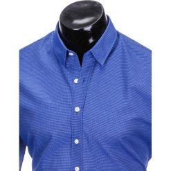 KOSZULA MĘSKA Z DŁUGIM RĘKAWEM K410 - JASNOGRANATOWA. Brązowe koszule męskie marki Ombre Clothing, m, z aplikacjami, z kontrastowym kołnierzykiem, z długim rękawem. Za 49,00 zł.