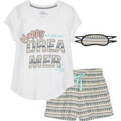 Piżamy damskie: Piżama z krótkimi spodniami i opaską na oczy bonprix biel wełny z nadrukiem