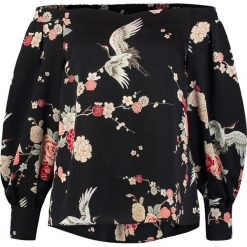 Bluzki asymetryczne: Dorothy Perkins HERON PRINT BARDOT Bluzka black