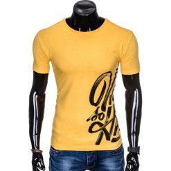 T-shirty męskie: T-SHIRT MĘSKI Z NADRUKIEM S992 - ŻÓŁTY