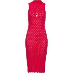 Sukienka bonprix czerwony. Czerwone sukienki hiszpanki bonprix, z krótkim rękawem, mini, dopasowane. Za 69,99 zł.