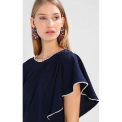 T-shirty damskie: Cortefiel WITH FRILLED SLEEVES Tshirt z nadrukiem marine blue