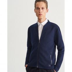Rozpinana bluza ze stójką - Granatowy. Niebieskie bluzy męskie rozpinane marki bonprix, m, melanż. Za 139,99 zł.