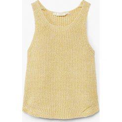 Mango Kids - Top dziecięcy Senape 110-152 cm. Brązowe bluzki dziewczęce bawełniane Mango Kids, z okrągłym kołnierzem, bez rękawów. W wyprzedaży za 39,90 zł.