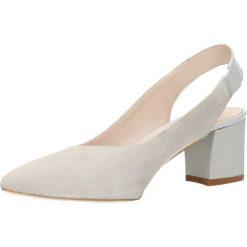 Czółenka CORNELIA. Szare buty ślubne damskie Gino Rossi, ze skóry, z otwartym noskiem, na obcasie. Za 159,90 zł.