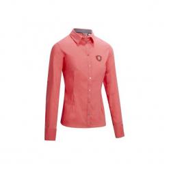Koszula jeździecka Lady 700 damska. Czerwone koszule damskie marki DOMYOS, z elastanu. Za 99,99 zł.