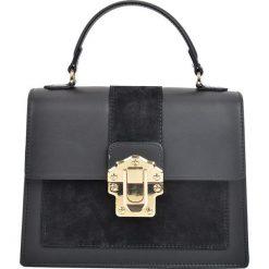 Torebki klasyczne damskie: Skórzana torebka w kolorze czarnym – 22 x 27 x 10,5 cm