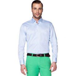 Koszula Błękitna Forest. Niebieskie koszule męskie na spinki LANCERTO, m, w geometryczne wzory, z bawełny, z klasycznym kołnierzykiem. W wyprzedaży za 149,90 zł.