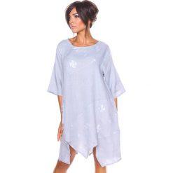 """Sukienki asymetryczne: Lniana sukienka """"Cerise"""" w kolorze szarym"""