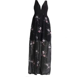 Długie sukienki: WAL G. FLORAL WITH PLUNGE NECKLINE Długa sukienka black