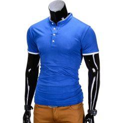 KOSZULKA MĘSKA POLO BEZ NADRUKU S848 - NIEBIESKA. Niebieskie koszulki polo Ombre Clothing, m, z nadrukiem. Za 29,00 zł.