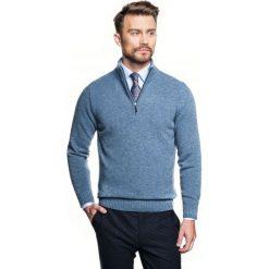 Sweter nagore troyer niebieski. Szare swetry klasyczne męskie marki Recman, m, z kołnierzem typu troyer. Za 249,00 zł.