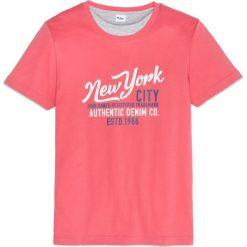 T-shirty męskie: T-shirt w optyce 2 w 1, z nadrukiem, Regular Fit bonprix koralowy