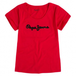 T-shirt w kolorze czerwonym. Czerwone t-shirty damskie Pepe Jeans, xs, z aplikacjami, z okrągłym kołnierzem. W wyprzedaży za 69,95 zł.