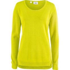 Swetry damskie: Sweter z rozcięciami po bokach bonprix zielona limonka