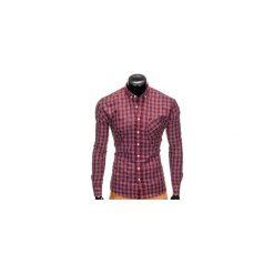 KOSZULA MĘSKA W KRATĘ Z DŁUGIM RĘKAWEM K394 - BORDOWA. Brązowe koszule męskie na spinki marki Ombre Clothing, m, z aplikacjami, z kontrastowym kołnierzykiem, z długim rękawem. Za 69,00 zł.
