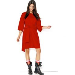 Czerwona Luźna Casualowa Sukienka z Szerokimi Rękawami. Różowe sukienki na komunię marki numoco, l, z dekoltem w łódkę, oversize. Za 118,90 zł.