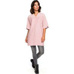 Pudrowa Prosta Mini -Sukienka Tunika z Dekoltem V. Różowe sukienki balowe marki numoco, l, z dekoltem w łódkę, oversize. Za 125,90 zł.