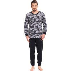 Piżamy męskie: Piżama w kolorze szaro-czarnym - bluzka, spodnie