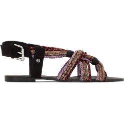 Rzymianki damskie: Sandały z paskami sznurkowymi z cekinami