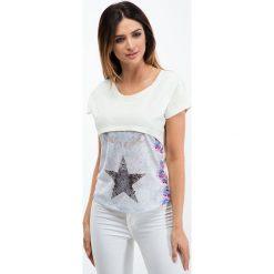 Bluzki damskie: Kremowa bluzka z łączonych materiałów 2305