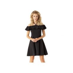 Rozkloszowana sukienka w stylu hiszpanki czarna ED018-4. Szare sukienki hiszpanki marki Molly.pl, l, w koronkowe wzory, z koronki, eleganckie, z dekoltem typu hiszpanka, z krótkim rękawem, midi, dopasowane. Za 259,00 zł.