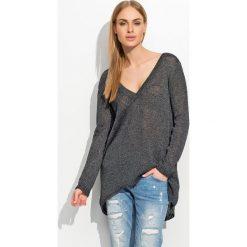 Swetry klasyczne damskie: Luźny Czarny Melanż Sweter z Dekoltem w Serek