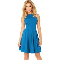 Sukienki: Sukienka KOŁO – dekolt łódka – wafelek NIEBIESKI