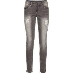 Dżinsy Skinny z zamkami bonprix szary denim. Szare jeansy damskie bonprix, z denimu. Za 99,99 zł.