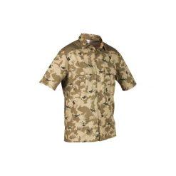Koszula myśliwska krótki rękaw 500 CAMO ISB. Zielone koszule męskie na spinki marki Reserved, l, z weluru. W wyprzedaży za 39,99 zł.