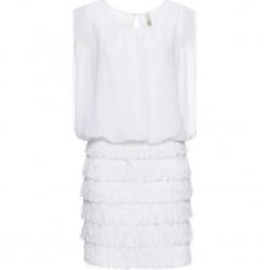 Sukienka z koronką i frędzlami bonprix biały. Białe sukienki koronkowe marki bonprix, na imprezę, w koronkowe wzory. Za 79,99 zł.