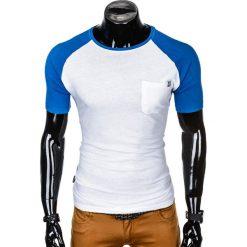 T-SHIRT MĘSKI BEZ NADRUKU S1015 - BIAŁY/NIEBIESKI. Szare t-shirty męskie z nadrukiem marki Lacoste, z gumy, na sznurówki, thinsulate. Za 35,00 zł.