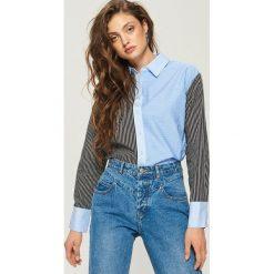 Koszula z łączonych materiałów - Wielobarwn. Szare koszule damskie marki Sinsay, l, z materiału. W wyprzedaży za 29,99 zł.
