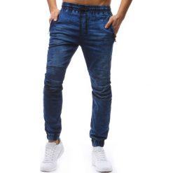 Joggery męskie: Joggery męskie denim look niebieskie (ux1237)