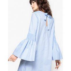 Długie sukienki: Sukienka bawełniana z rękawami o ozdobnych przymarszczeniach