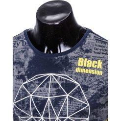 T-SHIRT MĘSKI Z NADRUKIEM S933 - GRANATOWY. Czarne t-shirty męskie z nadrukiem marki Ombre Clothing, m, z bawełny, z kapturem. Za 29,00 zł.