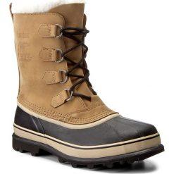Śniegowce SOREL - Caribou NM1000 Buff 281. Brązowe śniegowce męskie Sorel, z gumy. W wyprzedaży za 519,00 zł.