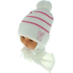 Czapka dziecięca z szalikiem CZ+S 042A różowo-biała r. 46-48. Białe czapeczki niemowlęce marki Proman. Za 52,11 zł.