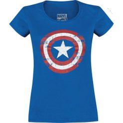 Captain America Cracked Shield Koszulka damska niebieski. Niebieskie bluzki asymetryczne Captain America, xxl, z motywem z bajki. Za 74,90 zł.