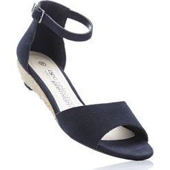 Espadryle skórzane na koturnie bonprix ciemnoniebieski. Niebieskie buty ślubne damskie bonprix, na koturnie. Za 79,99 zł.