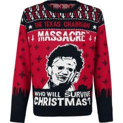 Texas Chainsaw Massacre Leatherface Sweter czarny/biały/czerwony. Białe swetry klasyczne męskie Texas Chainsaw Massacre, xxl, z dzianiny, z okrągłym kołnierzem. Za 164,90 zł.
