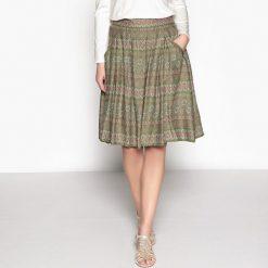 Minispódniczki: Spódnica z nadrukiem, rozkloszowana, lejące płótno