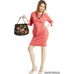 Sukienka taliowana z kieszeniami koral. Szare sukienki dresowe marki bonprix, melanż, z kapturem, z długim rękawem, maxi. Za 129,00 zł.