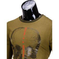 BLUZA MĘSKA BEZ KAPTURA Z NADRUKIEM B674 - KHAKI. Brązowe bluzy męskie rozpinane marki Ombre Clothing, m, z nadrukiem, z bawełny, bez kaptura. Za 39,00 zł.