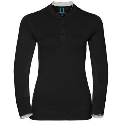Odlo Koszulka damska Stand-up collar l/s NATURAL 100% MERINO czarna r. S  (110401). Czarne topy sportowe damskie marki Odlo, l. Za 244,31 zł.