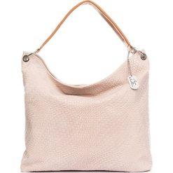 Torebki klasyczne damskie: Skórzana torebka w kolorze kremowym – 38 x 35 x 13 cm